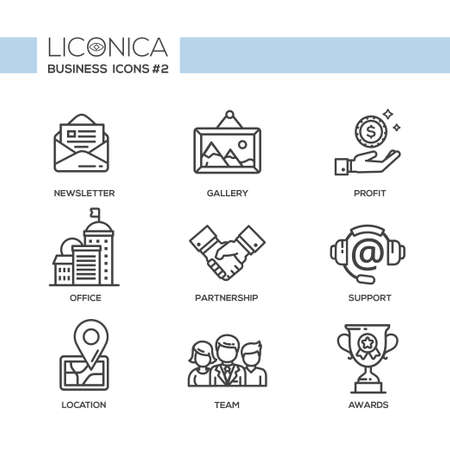 Set of modern vector office plain simple thin line flat design icons and pictograms. Illustration