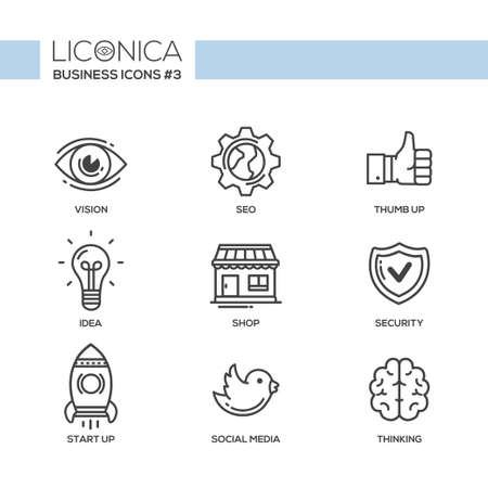 office objects: Set of modern vector office plain thin line flat design icons and pictograms. Collection of business infographics objects and web elements. Vision, SEO, thumb up, idea, shop, security, start up, social media, thinking
