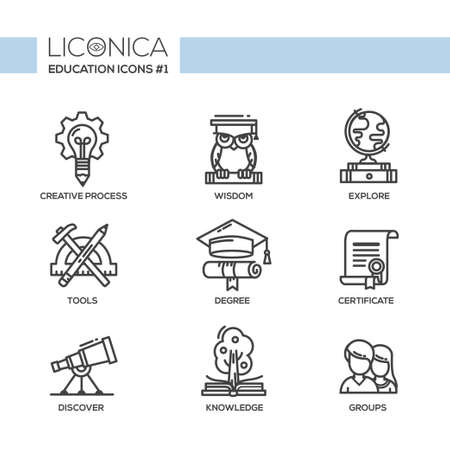 equipment work: Set of modern vector education simple thin line flat design icons and pictograms.