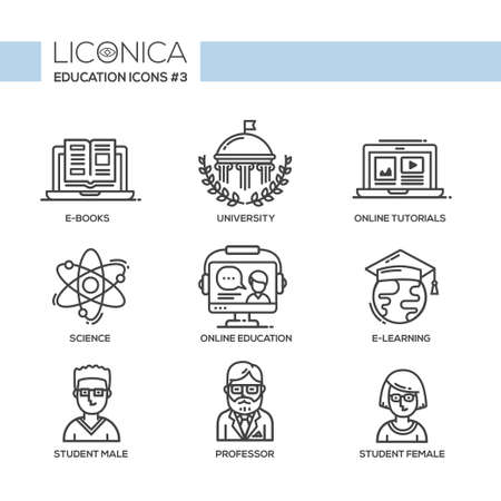 professor: Set of modern vector education plain thin line flat design icons and pictograms.