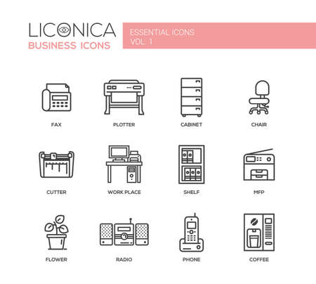mfp: Set of modern vector office simple line design icons and pictograms. Illustration