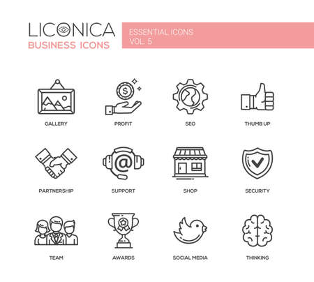 Set of modern vector office plain simple thin line flat design icons and pictograms. Vettoriali