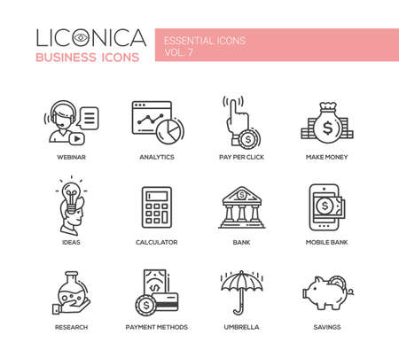Set of modern vector finance simple thin line flat design icons and pictograms.
