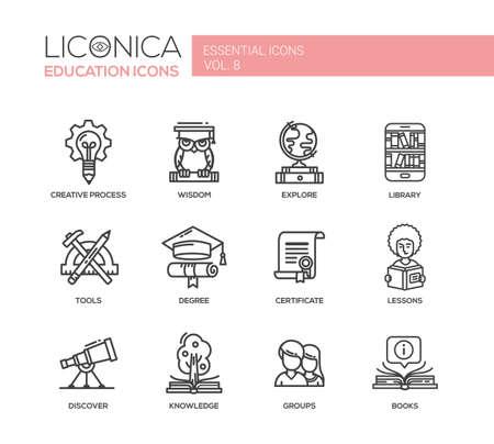education: Set van moderne vector onderwijs eenvoudige dunne lijn platte design iconen en pictogrammen. Stock Illustratie
