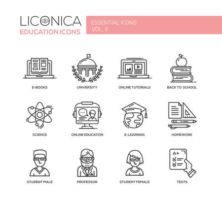 educational: Set of modern vector education thin line flat design icons and pictograms.