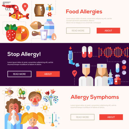 allergen: Set of flat design allergy and allergen headers with icons and infographics elements
