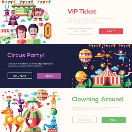 payasos caricatura: Conjunto de diseño de sitios web circo y carnaval cabeceras planas modernas, de conjunto con los iconos y elementos de infografía Vectores