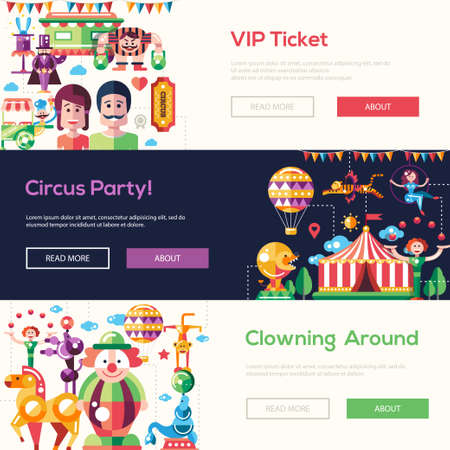 cartoon carnival: Set of modern flat design circus and carnival website headers, set with icons and infographics elements