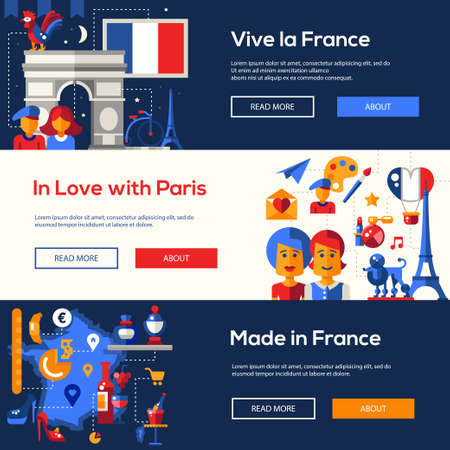 triumphal: Set of flat design France travel , headers with icons and infographics elements with landmarks and famous French symbols Illustration