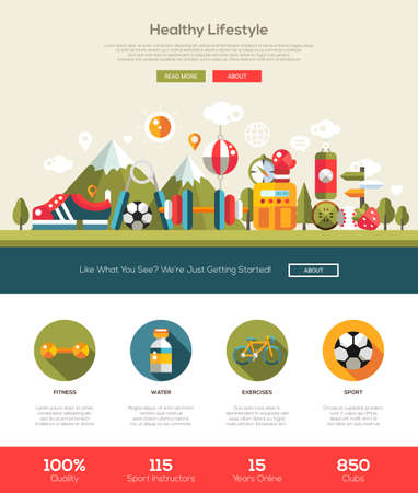 tourist information: Healthy lifestyle website template with modern flat design , header, icons and other web design elements