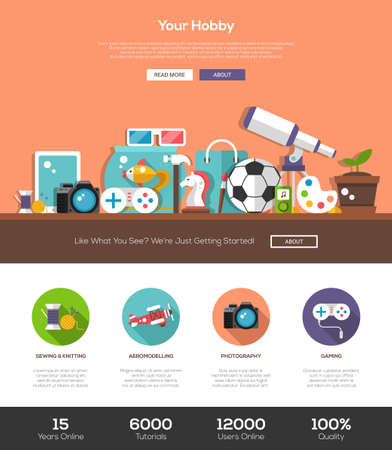 Hobbies website template with modern flat design banner, header, icons and other web design vector elements