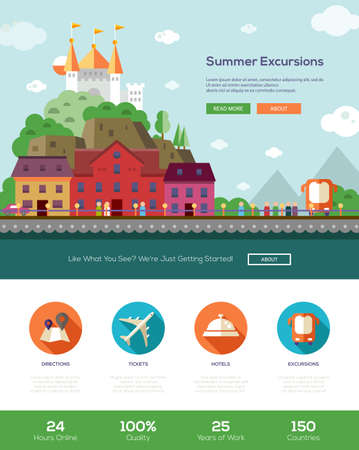 travelling: Summer vacation traveling tours, excursions website template with modern flat design banner, header, icons and other web design vector elements Illustration