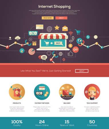 Internet, el sitio web de compras en línea una página web con el diseño de plantilla de cabeza delgada línea de diseño, bandera, iconos y otros elementos de diseño web plana