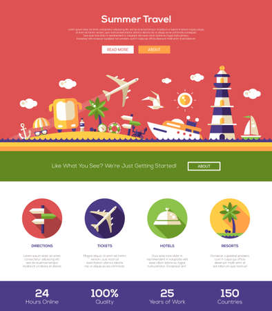 website design: Summer traveling web site one page website template layout with thin line design header, banner, icons and other flat design web elements Illustration