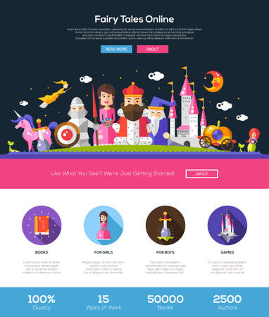 frog prince: Fairy tales online web site one page website template layout with thin line design header, banner, icons and other flat design web elements