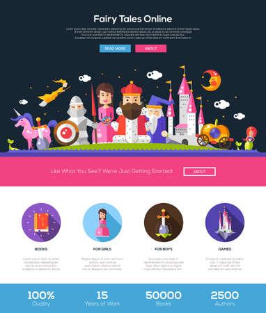 principe: Le fiabe del sito web online una pagina di layout modello di sito web con sottile intestazione linea di design, banner, icone e altri elementi di web design piatto