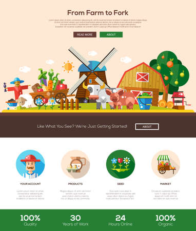 web template: From farm to fork web site one page website template layout with thin line design header, banner, icons and other flat design web elements