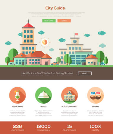 website template: City guide web site one page website template layout with thin line design header, banner, icons and other flat design web elements