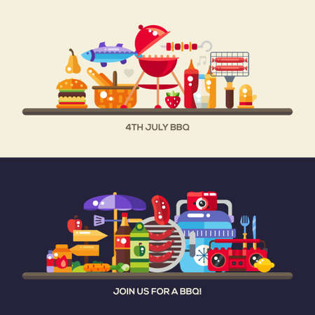 summer picnic: Vector flat design barbecue and summer picnic web design banners, headers with icons and infographics elements