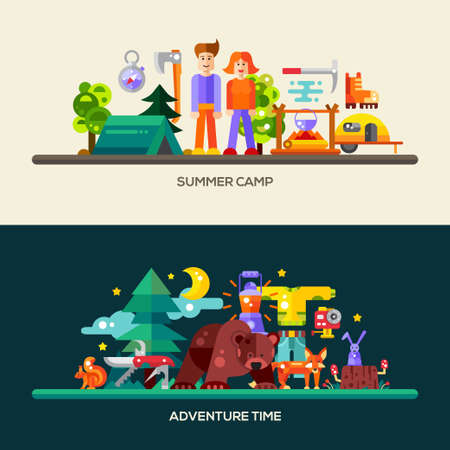 mountain cartoon: Camping and hiking website header, banner with modern flat design icons and other web design vector elements