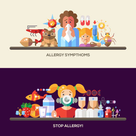 rash: Set of vector flat design allergy and allergen banners, headers with icons and infographics elements