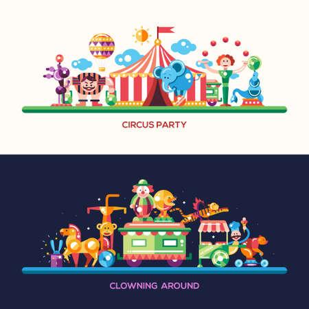 clown cirque: Ensemble de vecteur cirque de conception et de site Web de carnaval têtes plates modernes, bannières serties icônes et des infographies éléments Illustration