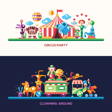 lion cartoon: Set of vector modern flat design circus and carnival website headers, banners set with icons and infographics elements