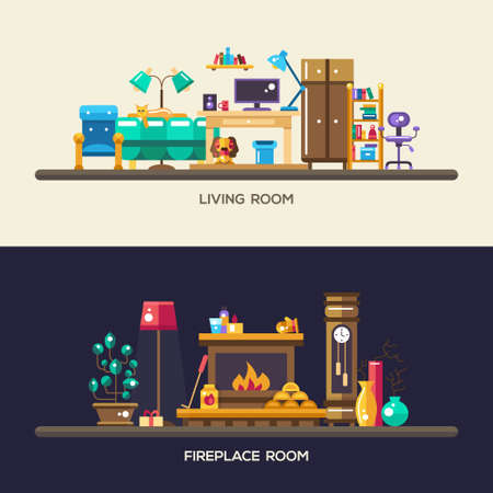 windows home: Set of vector modern flat design home rooms interior furniture website headers, banners set with icons and infographics elements