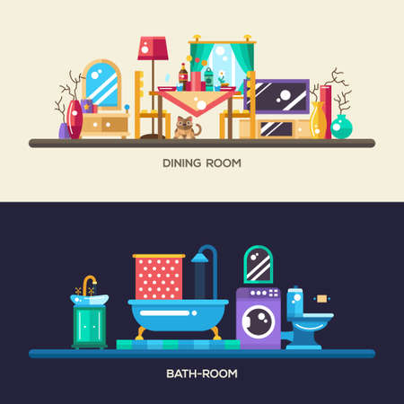 interior design home: Set of vector modern flat design home rooms interior furniture website headers, banners set with icons and infographics elements