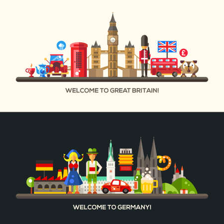 germany: Set of vector flat design Great Britain and Germany travel banners, headers with icons and infographics elements with landmarks and famous French and American symbols Illustration