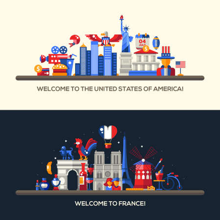 american food: Set of vector flat design France, USA travel banners, headers with icons and infographics elements with landmarks and famous French and American symbols