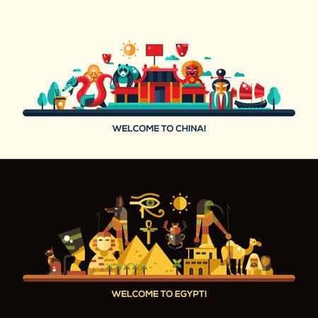 Illustratie van platte ontwerp Egypte en China reizen vector banners set met pictogrammen, infographics elementen, bezienswaardigheden en beroemde Egyptische en Chinese symbolen