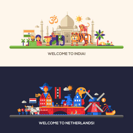Illustration of flat design Netherlands, Holland, India travel vector banners set with icons, infographics elements, landmarks and famous Indian and Dutch symbols Illustration