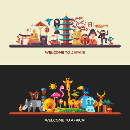 lucky cat: Illustration of flat design Africa and Japan travel vector banners set with icons, infographics elements, landmarks and famous African and Japanese symbols