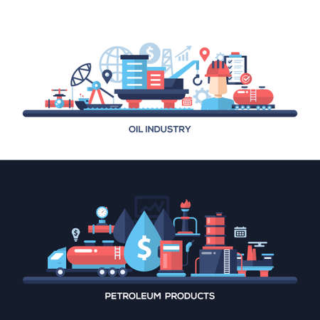 oil and gas industry: Oil and gas industry website and protection header, banner, icons and other flat design web elements