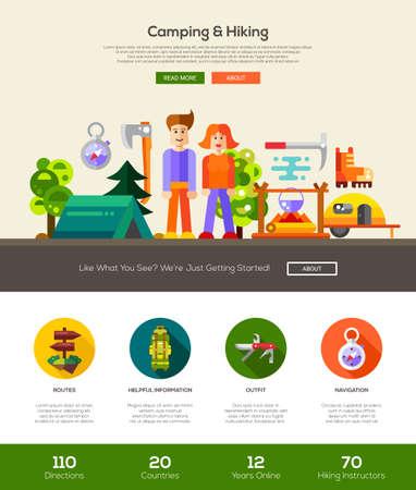 Camping und Wandern Website eine Seite Website-Vorlage-Layout mit dünnen Linie Design-Header, Banner, Symbole und andere flache Design Web-Elemente Vektorgrafik