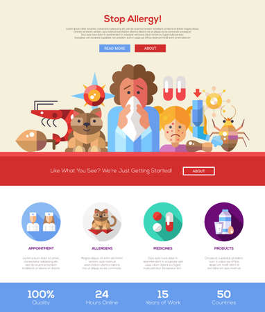 rhinitis: Stop allergy information web site one page website template layout with thin line design header, banner, icons and other flat design web elements
