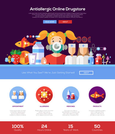 shop online: Allergy drugstore online shop web site one page website template layout with thin line design header, banner, icons and other flat design web elements