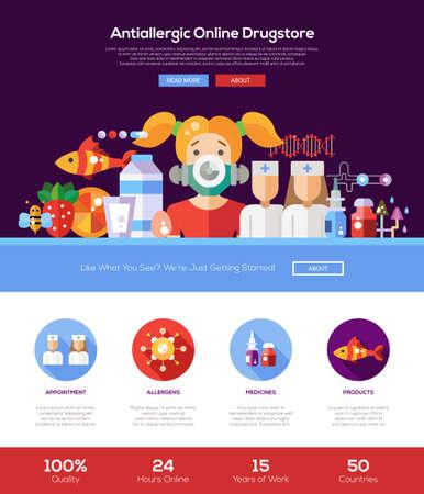 droguería alergia tienda online sitio web de una página web con el diseño de plantilla de cabeza delgada línea de diseño, bandera, iconos y otros elementos de diseño web plana Ilustración de vector