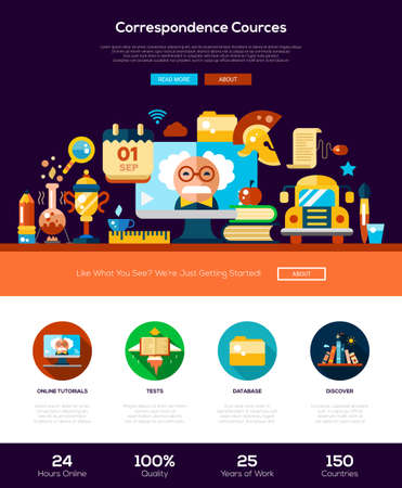 website template: School and education web site one page website template layout with thin line design header, banner, icons and other flat design web elements