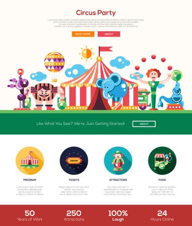 Circo y fiesta de carnaval sitio web una página web con el diseño de plantilla de cabeza delgada línea de diseño, bandera, iconos y otros elementos de diseño web plana