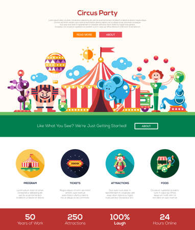 cartoon circus: Circus and carnival party web site one page website template layout with thin line design header, banner, icons and other flat design web elements