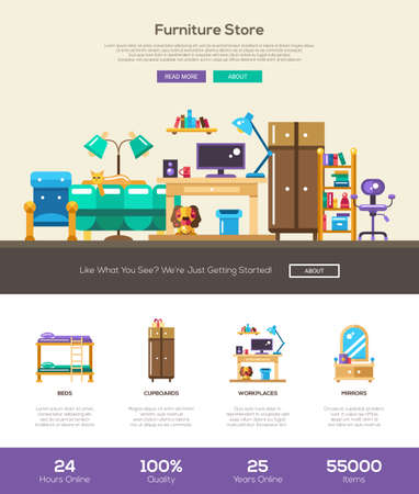 furniture store: House interior and domestic furniture online store web site one page website template layout with thin line design header, banner, icons and other flat design web elements