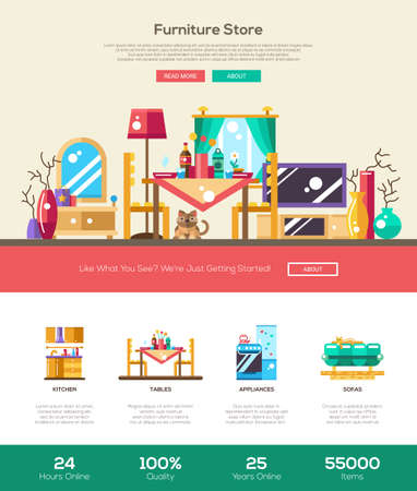 furniture design: House interior and domestic furniture online store web site one page website template layout with thin line design header, banner, icons and other flat design web elements