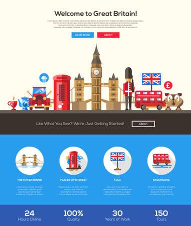 Benvenuti alla Gran Bretagna sito web di viaggio una pagina di layout modello di sito web con l'intestazione piatta disegno, banner, icone e altri elementi di web design piatto, famosi simboli britannici