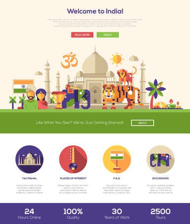 Bienvenido a la India sitio web de viajes una página web con el diseño de plantilla de cabeza plana, bandera, iconos y otros elementos de diseño web plana, símbolos indios famosos Foto de archivo - 54789225