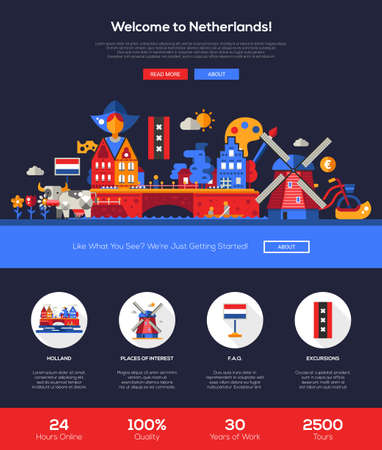 web design bridge: Welcome to Holand travel web site one page website template layout with flat header, banner, icons and other flat design web elements, famous Dutch symbols