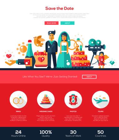 church: Guardar el sitio de servicios de boda de la fecha una página web plantilla de diseño web con cabecera plana, bandera, iconos y otros elementos de diseño web plana