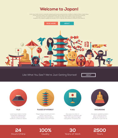 web site: Welcome to Japan travel web site one page website template layout with flat header, banner, icons and other flat design web elements, famous Japanese symbols