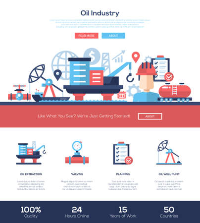 industry design: Oil and gas production industry web site one page website template layout with flat header, banner, icons and other flat design web elements